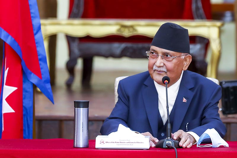 Prime Minister, also Nepal Communist Party Co-chair, KP Sharma Oli holds a meeting with party lawmakers from Sudurpaschim Province and Province 1 to brief them on the newly promulgated ordinances and the governmentu2019s preparedness to fight the coronavirus pandemic, at PM's official residence in Baluwatar, Kathmandu, on Wednesday, April 22, 2020. Photo: RSSn