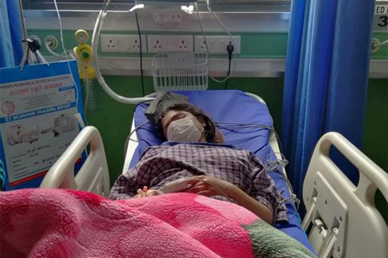Puja Dangal getting treatment at the Annapurna Neuro Hospital in Kathmandu, on Thursday, April 02, 2020. Photo: Shuvam Dhungana/Twitter