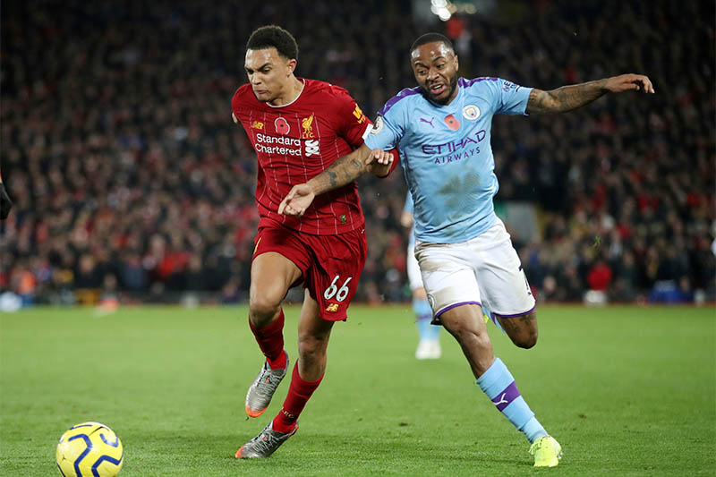 FILE PHOTO: Liverpool's Trent Alexander-Arnold in action with Manchester City's Raheem Sterling. Photo: Reuters