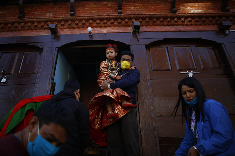 Living Goddess Kumari of Lalitpur Nihira Bajracharya is carried during the procession of Rato Machhindranath festival during lockdown, amid concerns about the spread of coronavirus, in Lalitpur, on Thursday, April 09, 2020. Photo: Skanda Gautam/THT