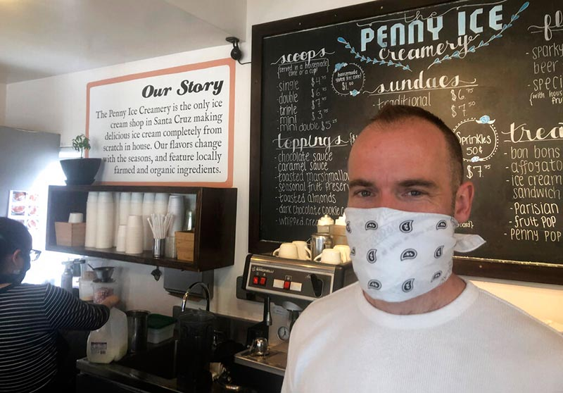 Zachary Davis poses for a photo at The Penny Ice Creamery in Santa Cruz, California, US, on April 17, 2020. Photo: AP