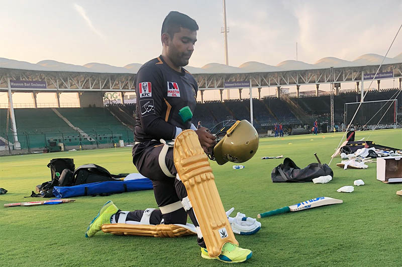 File: Pakistani cricketer Umar Akmal preparing to bat in the nets. Courtesy: Umar/Twitter