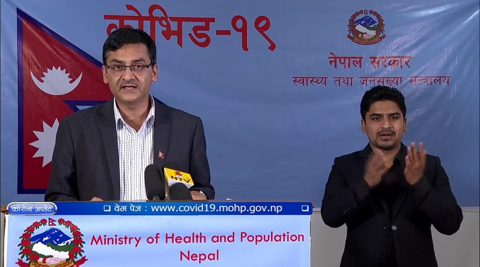 A screenshot of media briefing on COVID-19 by the Ministry of Health and Population (MoHP), on Wednesday, April 29, 2020.n