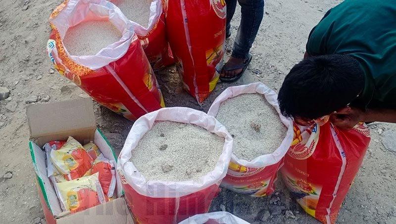 The substandard rice that was distributed in Badimalika Municipality-4 of Bajura district. Photo: Prakash Singh/THT