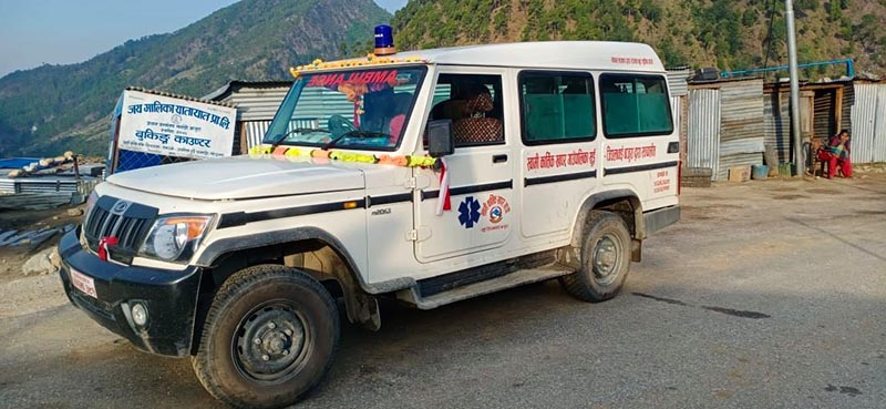 An ambulance ferrying passengers during the nationwide lockdown, in Bajura, on Wednesday. Photo: THT