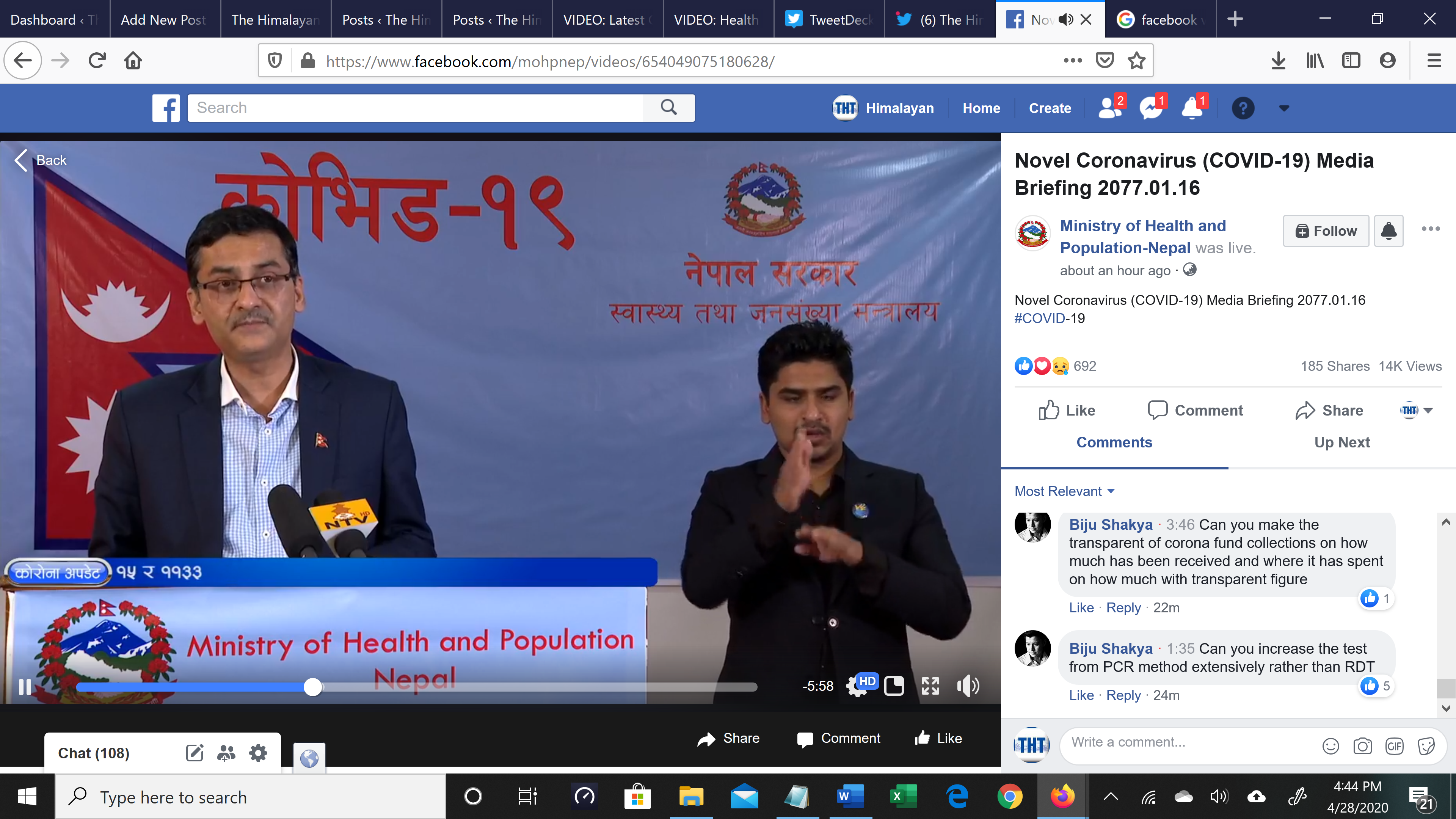 A screenshot of media briefing on COVID-19 by the Ministry of Health and Population (MoHP), on Tuesday, April 28, 2020.n