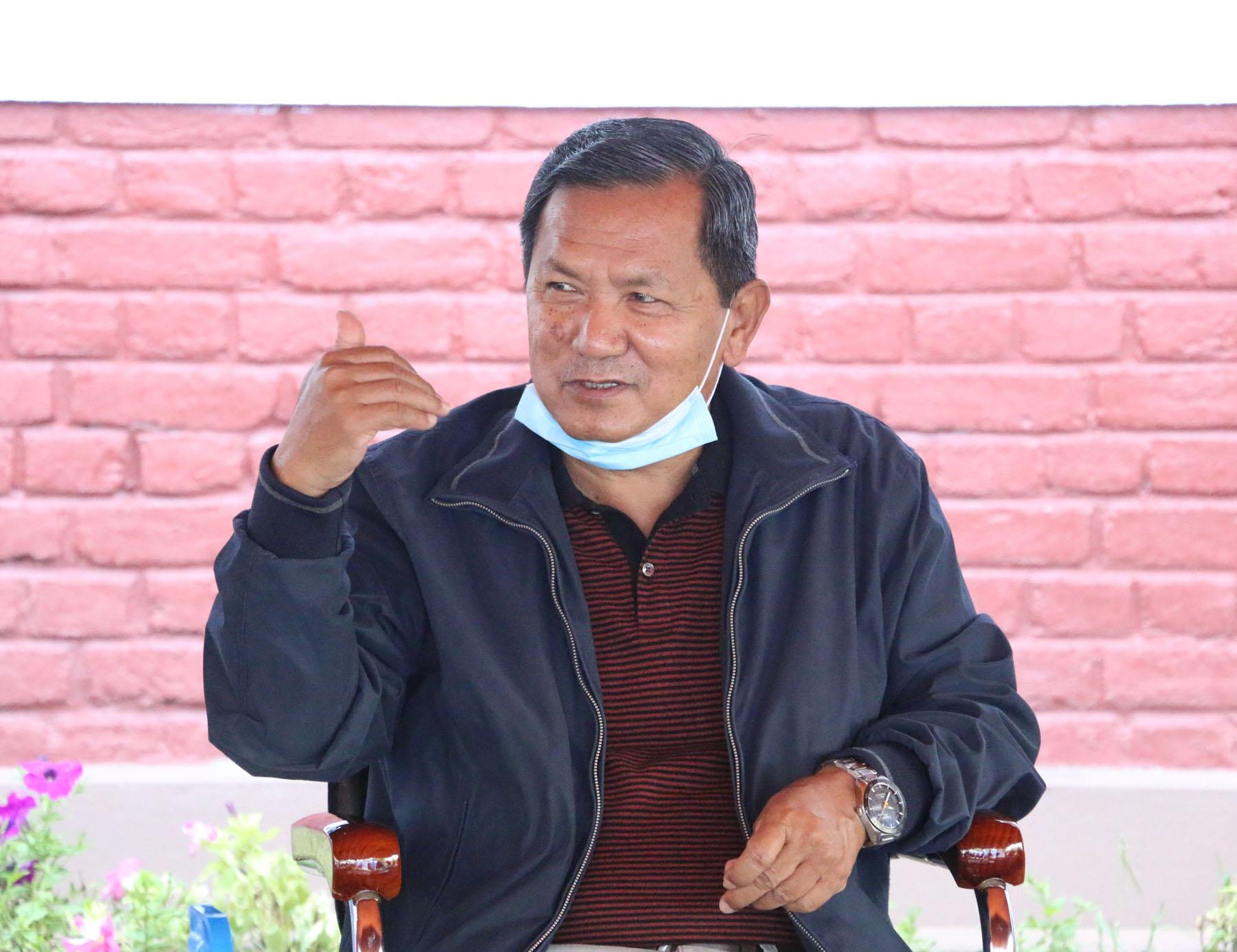 Chief Minster of Gandaki Province Prithvi Subba Gurung addressing the journalists, on Saturday, April 25, 2020. Photo: Bharat Koirala/THT
