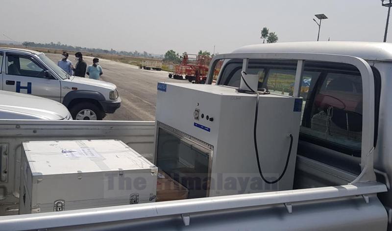 RT-PCR machine transported through Nepal Army's sky truck, at Dhangadhi Airport, on Wednesday, April 08, 2020. Photo: Tekendra Deuba/THT