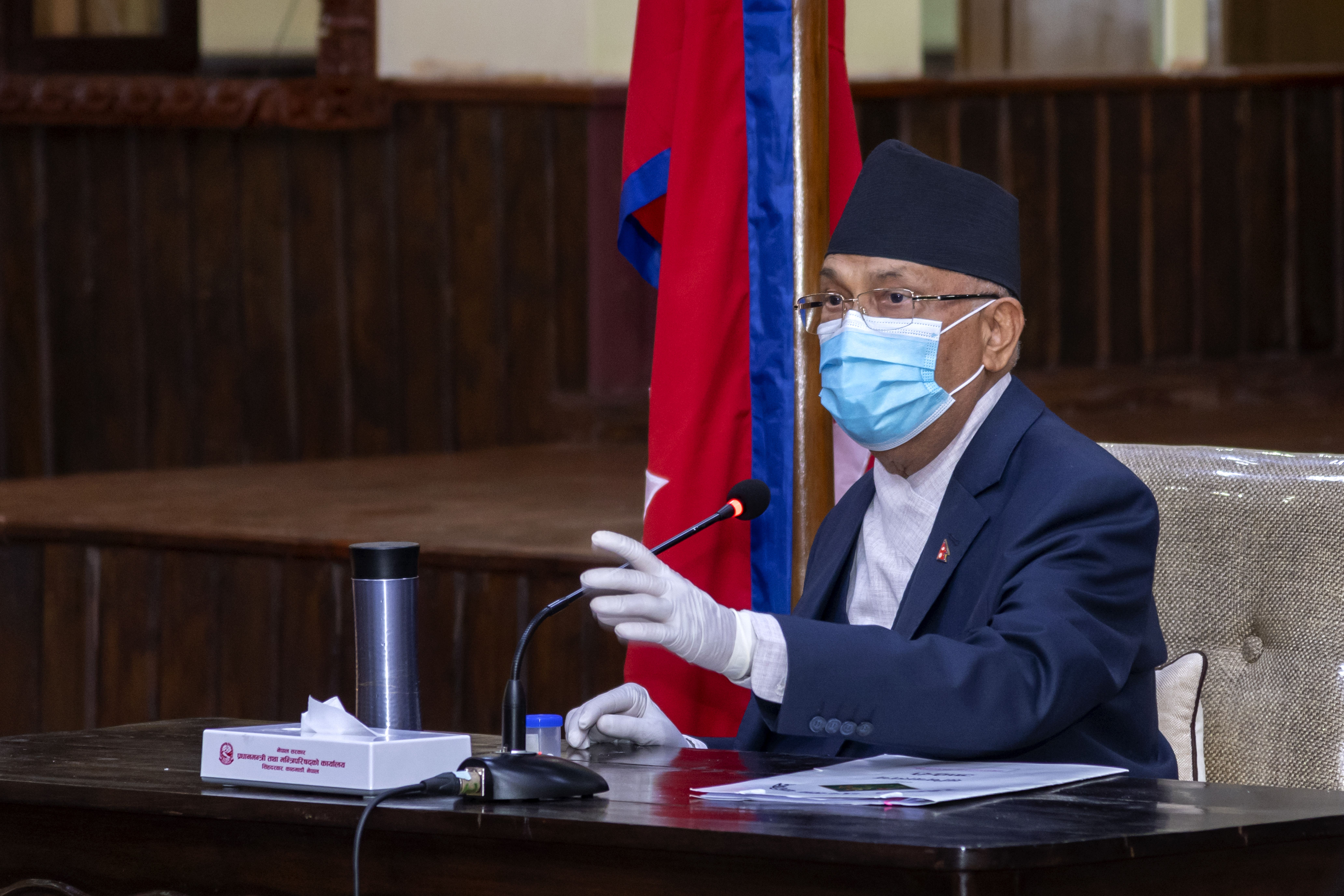Prime Minister KP Sharma Oli at the cabinet meeting, at the Prime Minister's official residence in Baluwatar, held on Saturday, May 30, 2020. Photo Courtesy: Rajan Kafle/Prime Minister's Secretariat