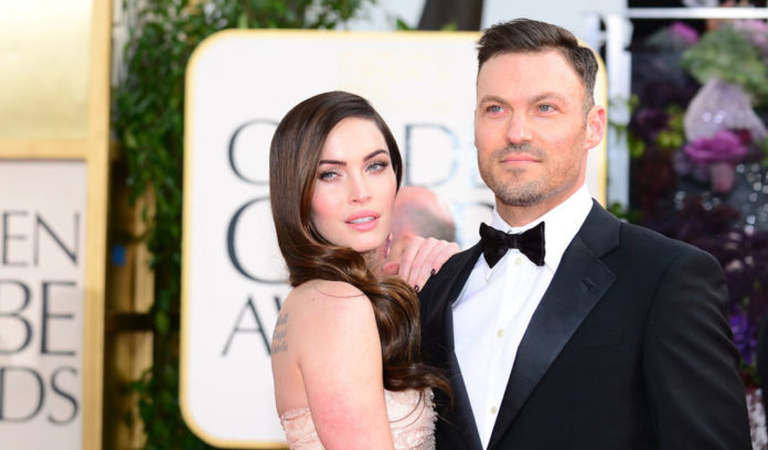 Actress Megan Fox and actor Brian Austin Green arrive at the Golden Globe awards ceremony in Beverly Hills on January 13, 2013. AFP PHOTO / Frederic J. BROWN        (Photo credit should read FREDERIC J. BROWN/AFP via Getty Images)