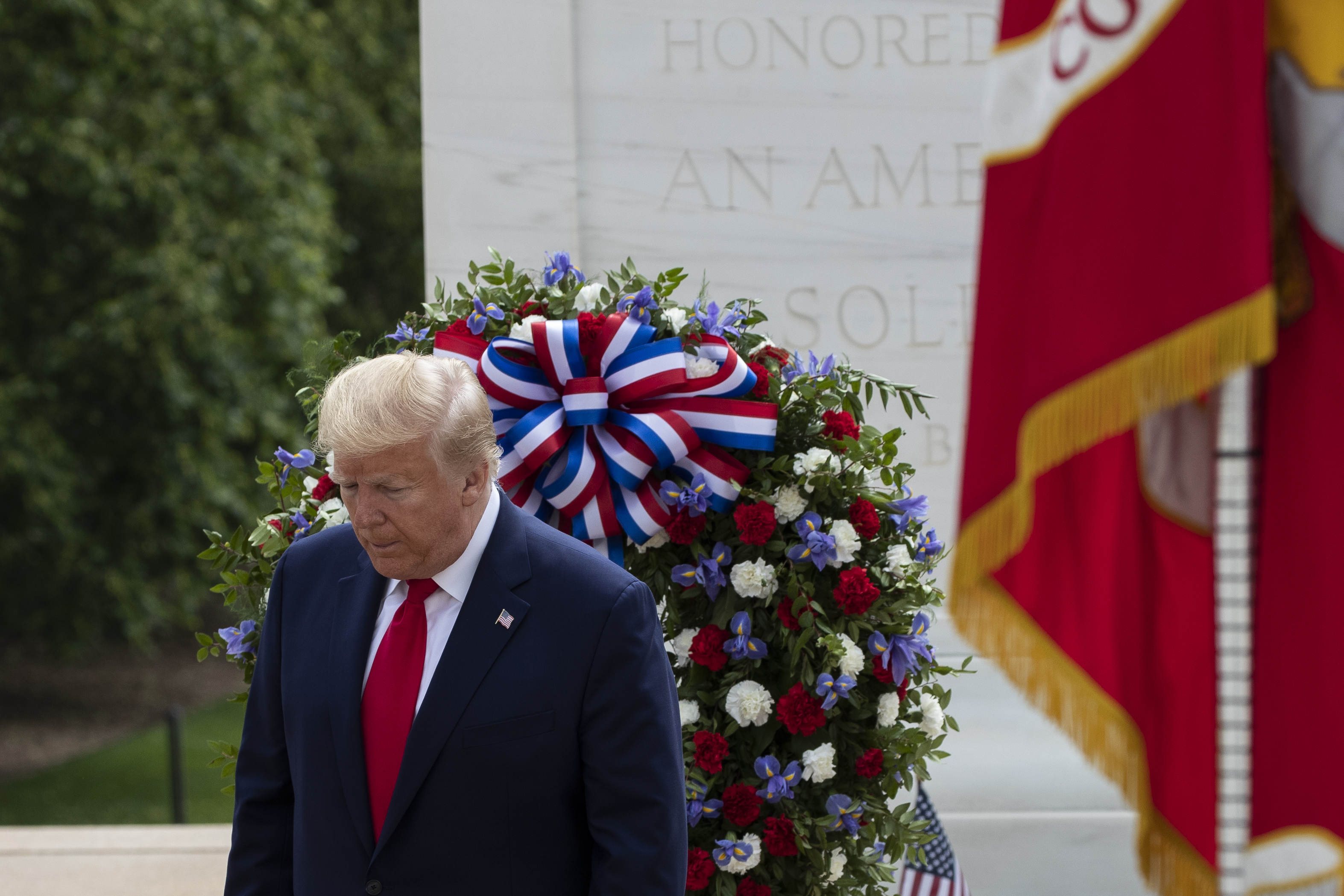 President Donald Trump turns after placing a wreath at the Tomb of the Unknown Soldier in Arlington National Cemetery, in honor of Memorial Day, Monday, May 25, 2020, in Arlington, Va. Photo: AP