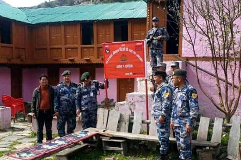APF establishes border outpost at Chhangru in Darchula district, on Wednesday, May 13, 2020. Photo: Tekendra Deuba/THT