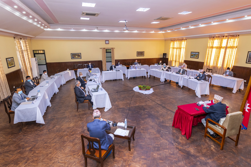 Cabinet meeting being held at Prime Minister KP Sharma Oli's official residence at Baluwatar, on Sunday, May 17, 2020. Photo: Prime Minister's Secretariat
