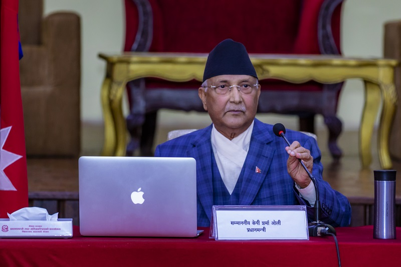 Prime Minister KP Sharma Oli addressing Cabinet meeting at his official residence in Baluwatar, Kathmandu, on Wednesday, May 6, 2020. Photo courtesy: PM's Secretariat