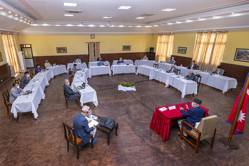 Ministers attend the Cabinet meeting held at Prime Minister's official residence in Baluwatar, Kathmandu, on Tuesday, May 12, 2020. Photo: PM's Secretariat