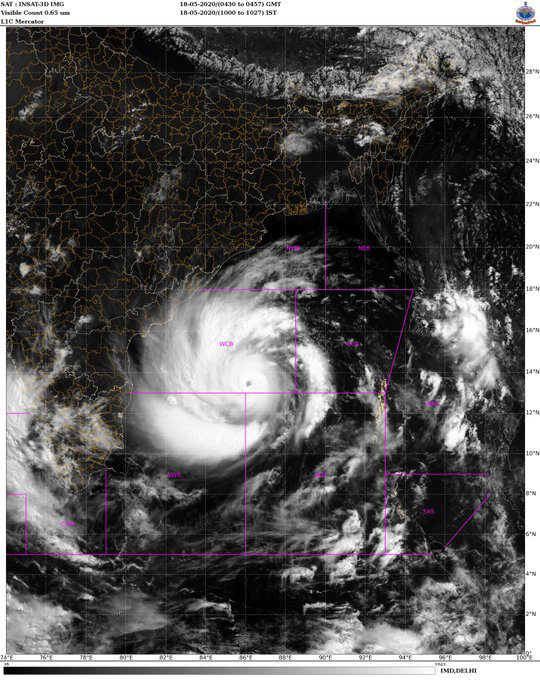 Extremely Severe Cyclonic Storm u0091AMPHANu0092, 18 May 2020. Photo Courtesy: India Meterology Department/Twitter