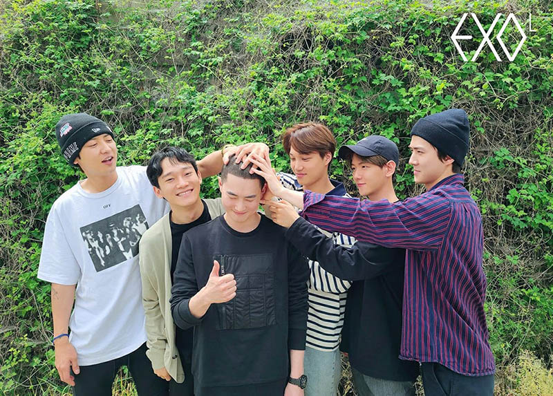EXO send off their leader Suho in their style for his military enlistment on May 14. Photo Courtesy: Lysn