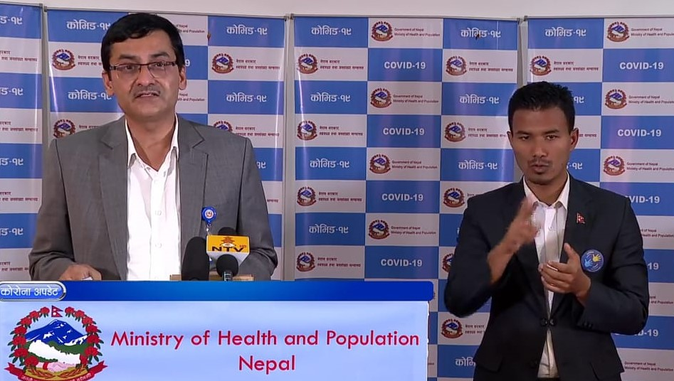 A screenshot of media briefing on COVID-19 response by the Ministry of Health and Population (MoHP), on Friday, May 15, 2020.n