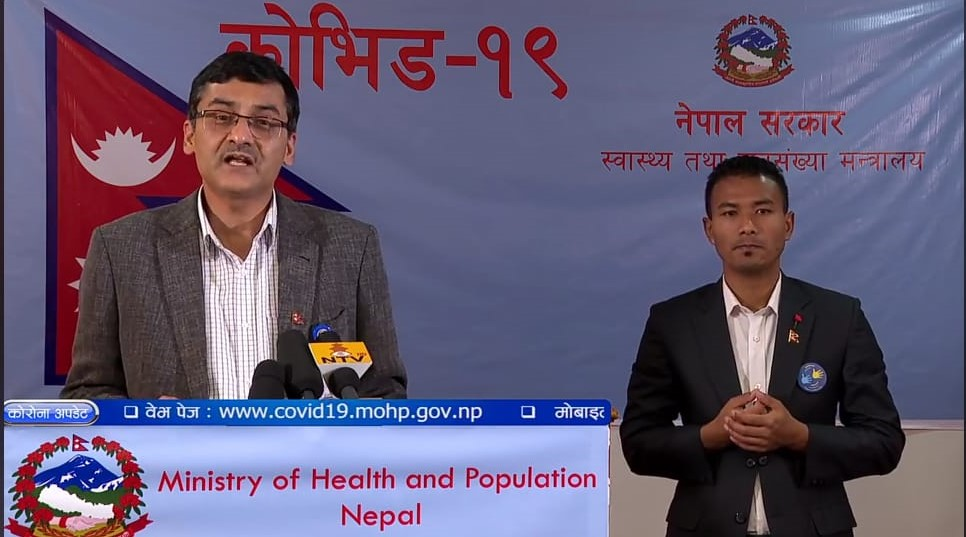 A screenshot of media briefing on COVID-19 by the Ministry of Health and Population (MoHP), on Friday, May 1, 2020.n