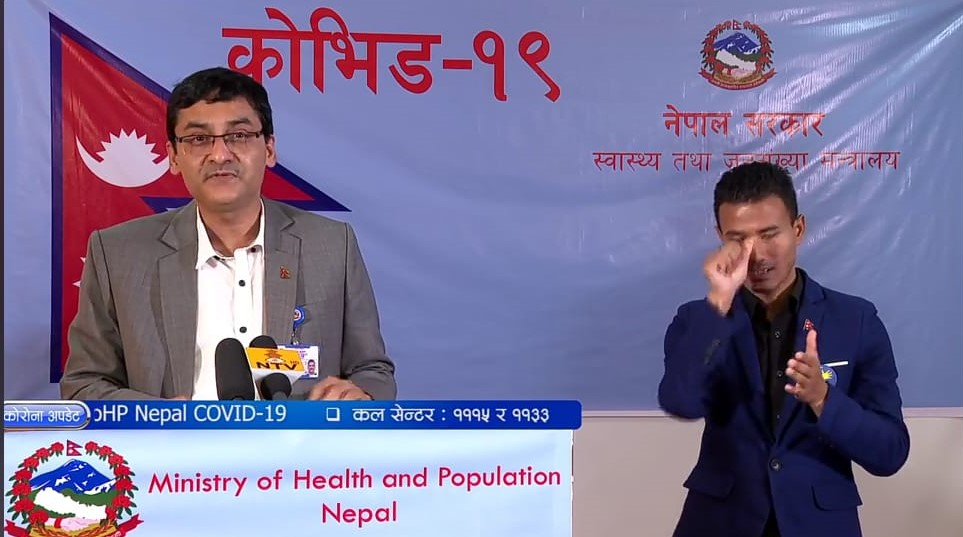 A screenshot of today's media briefing from the Ministry of Health and Population (MoHP) on COVID-19 response.