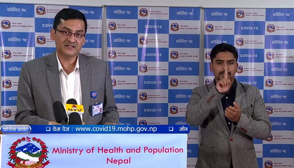 A screenshot of the COVID-19 media briefing by the Ministry of Health and Population (MoHP), on Friday, May 29, 2020.