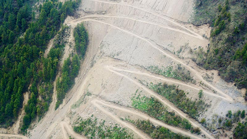 This image taken on Monday, May 18, 2020, shows aerial view of the winding road constructed along the bank of Mahakali River connecting Lipubhanjyang with Mansarovar in china via Gunji, Kalapani, as of Sunday. India has built the road in its own territory in the lower region while the road running above Gunji has been constructed encroaching upon Nepali land.  Photo: RSS