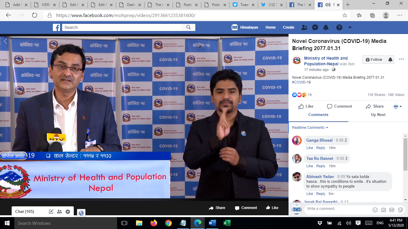 A screenshot of media briefing on COVID-19 response by the Ministry of Health and Population (MoHP), on Wednesday, May 13, 2020.