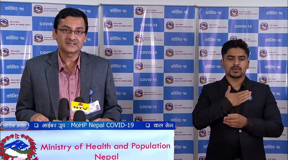 A screenshot of media briefing on COVID-19 response by the Ministry of Health and Population (MoHP), on Monday, May 25, 2020.