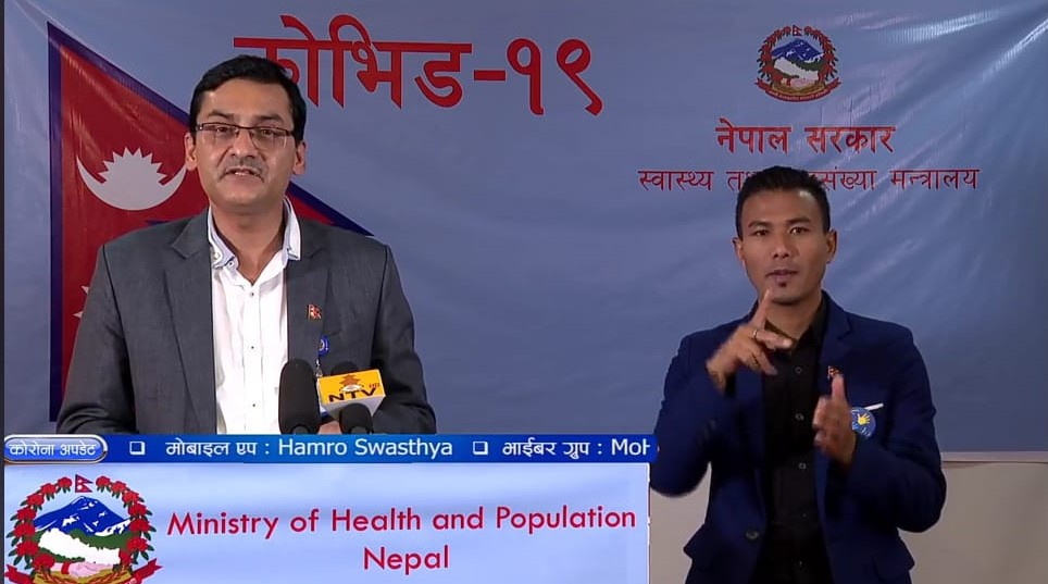 A screenshot of media briefing on COVID-19 by the Ministry of Health and Population (MoHP), on Monday, May 4, 2020.