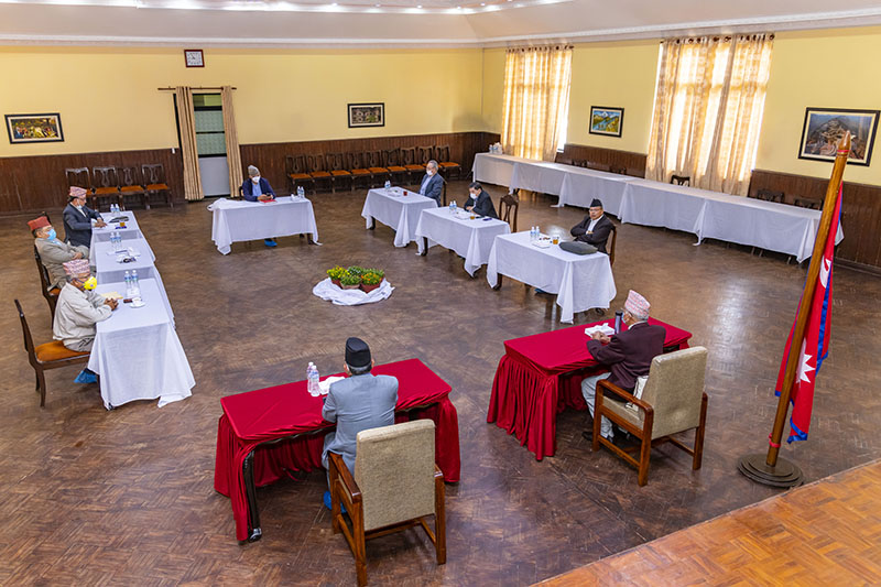 Nepal Communist Party (NCP) Central Secretariat Meeting, being held on Friday, May 15, 2020. Photo: Rajan Kafle/ Prime Minister's Private Secretariat