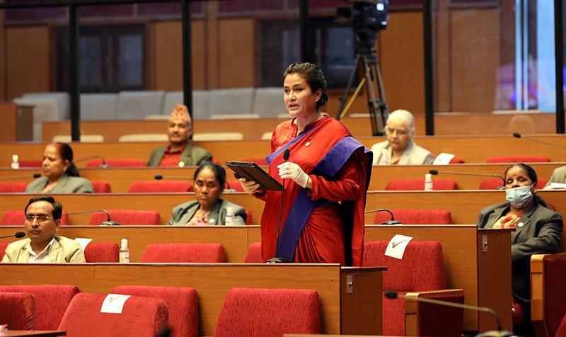 National Assembly member Komal Oli speaking at the upper House, in New Baneshwor, Kathmandu, on Wednesday, May 20, 2020. Photo courtesy: Federal Parliament Secretariat