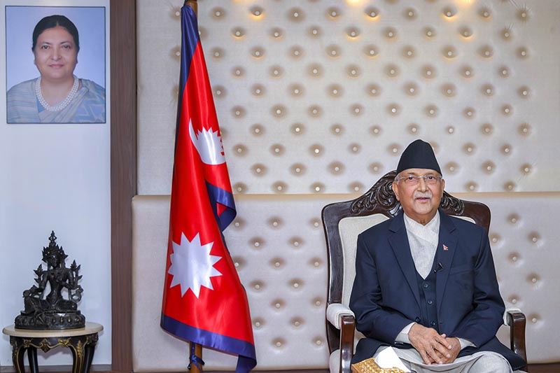 This image shows Prime Minister KP Sharma Oli at his official residence  in Baluwatar, Kathmandu, on Thursday, May 28, 2020.  Photo: PM's Secretariat