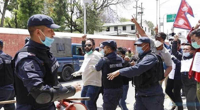 Police detain All Nepal National Free Students Union (ANNFSU) members and youth leaders demonstrating near Indian Embassy in Lazimpat, Kathmanud, on Saturday, May 9, 2020, Photo courtesy: Mahesh Shrestha