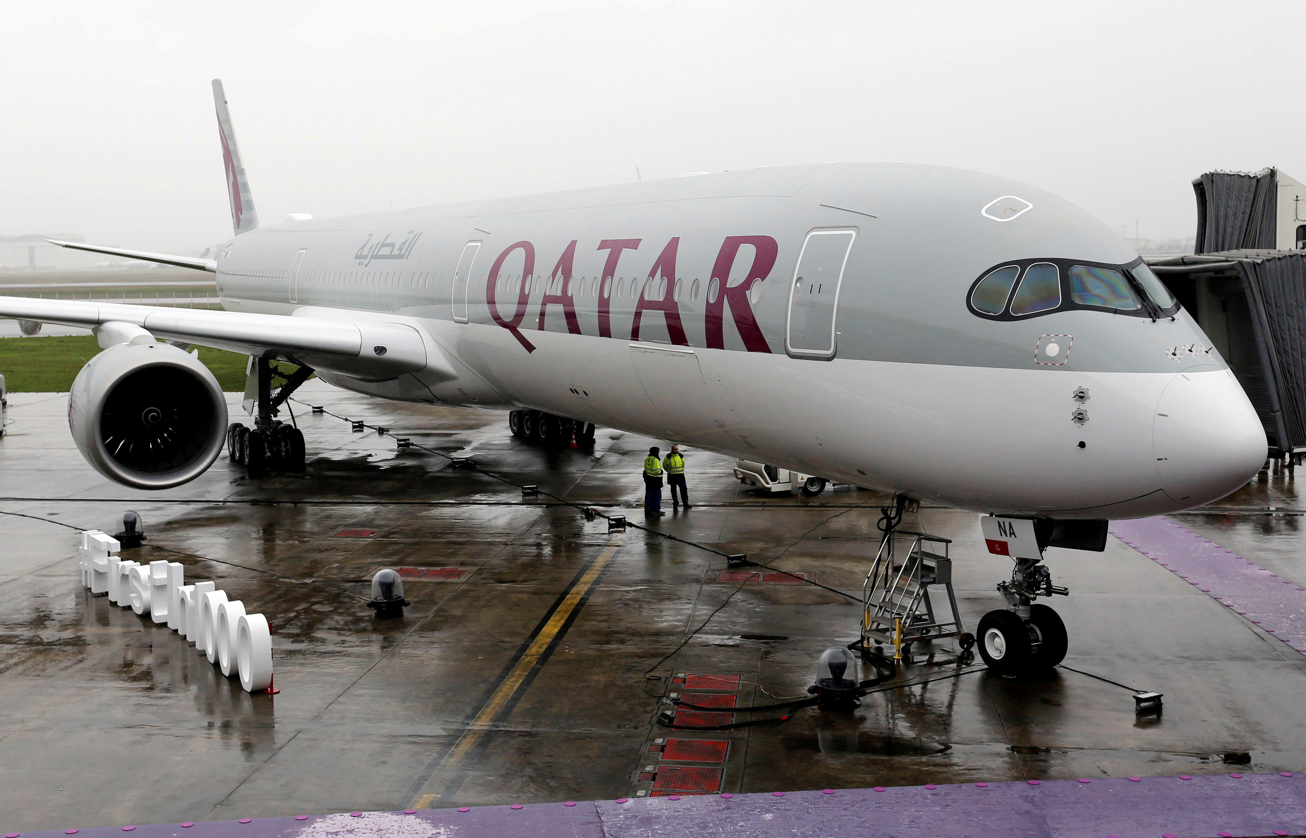 FILE PHOTO: An Airbus A350-1000 aircraft of Qatar Airways is pictured after a delivery ceremony at the French headquarters of aircraft company Airbus in Colomiers near Toulouse, France, February 20, 2018. REUTERS/Regis Duvignau/File Photo