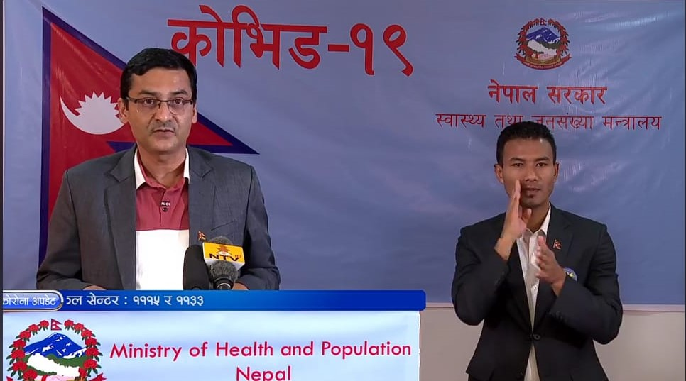 A screenshot of media briefing by the Ministry of Health and Population (MoHP) on COVID-19 response, on Saturday, May 9, 2020.