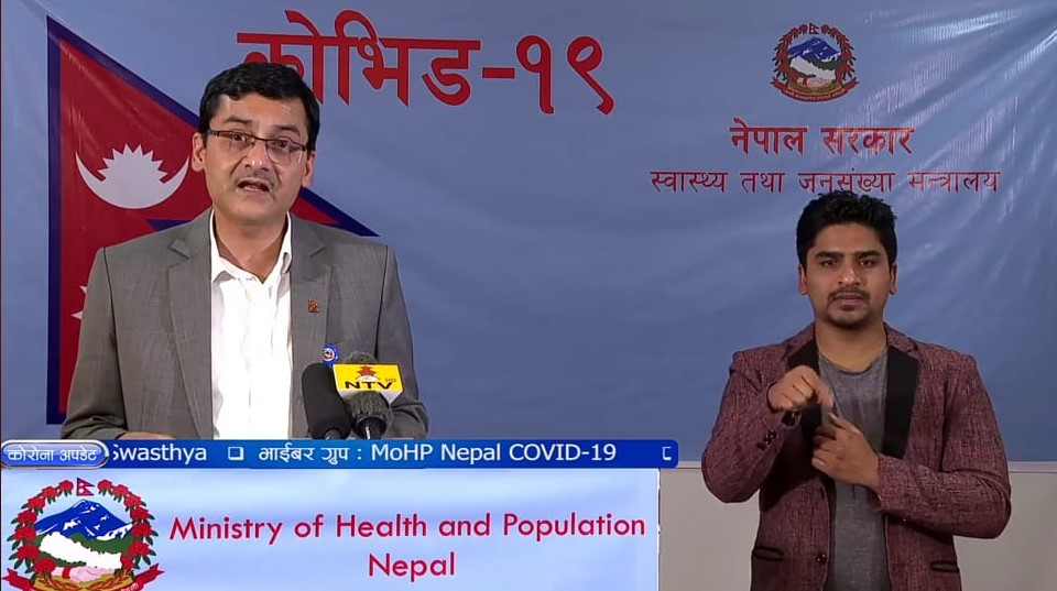 A screenshot of media briefing on COVID-19 by the Ministry of Health and Population (MoHP), on Saturday, May 2, 2020.