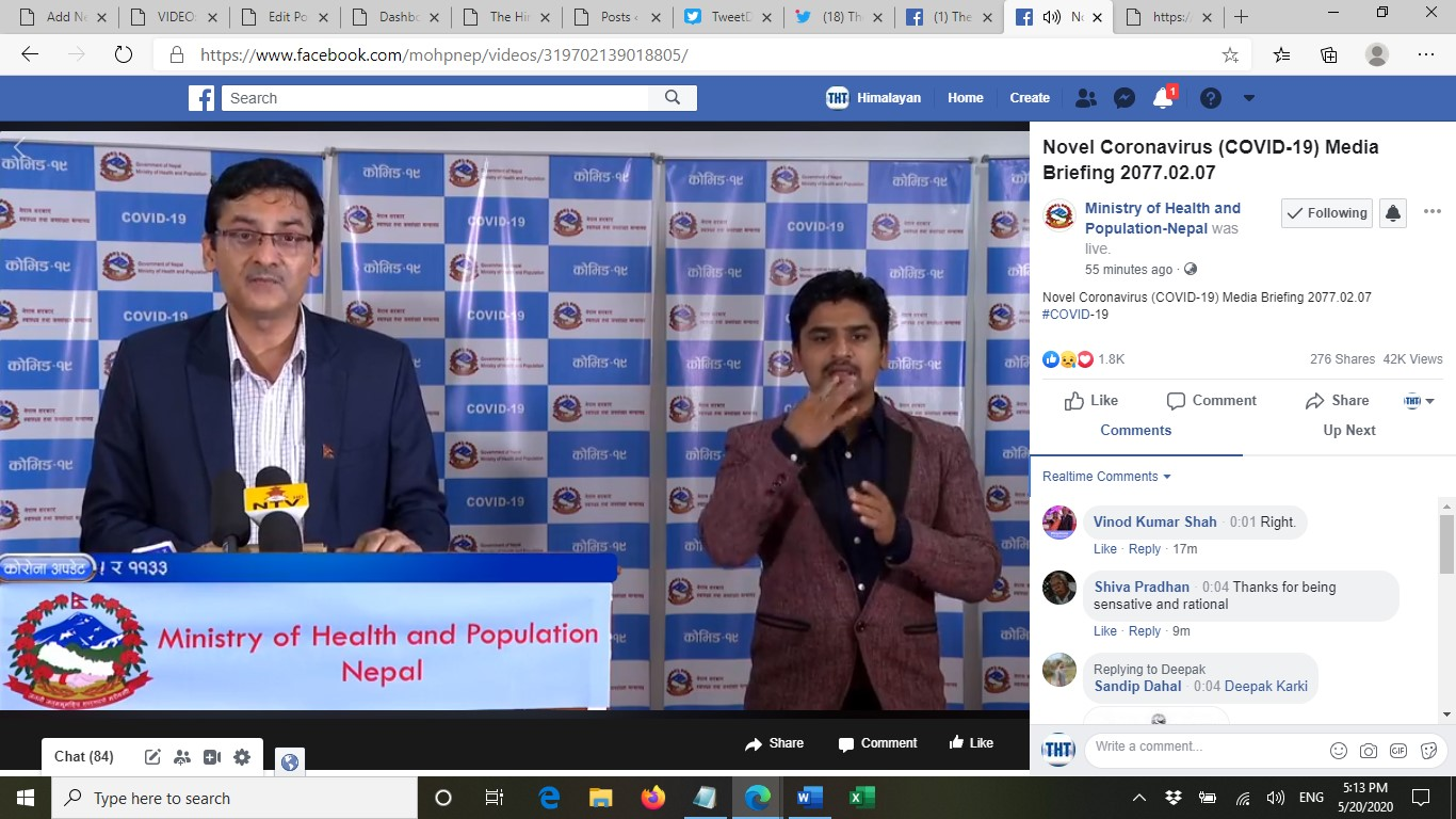 A screenshot of media briefing on COVID-19 response by the Ministry of Health and Population (MoHP), on Wednesday, May 20, 2020.