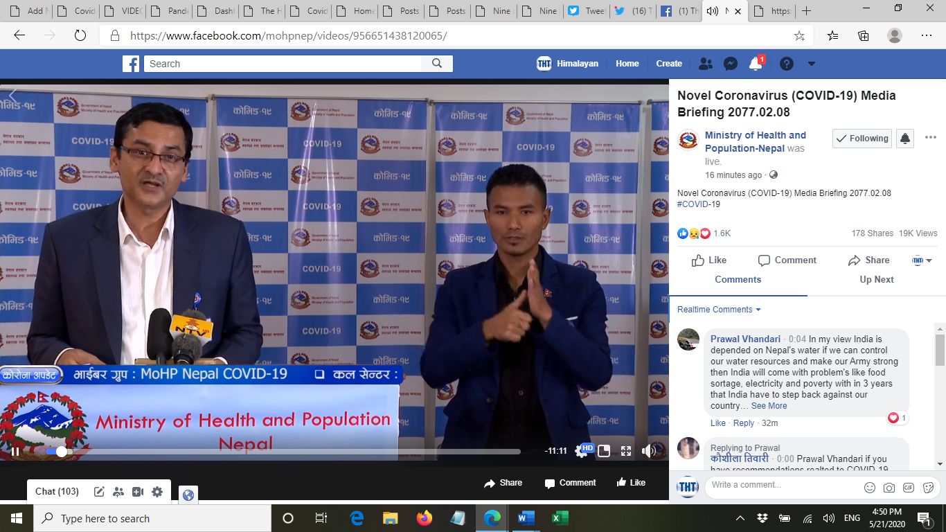 A screenshot of media briefing on COVID-19 response by the Ministry of Health and Population (MoHP), on Thursday, May 21, 2020.
