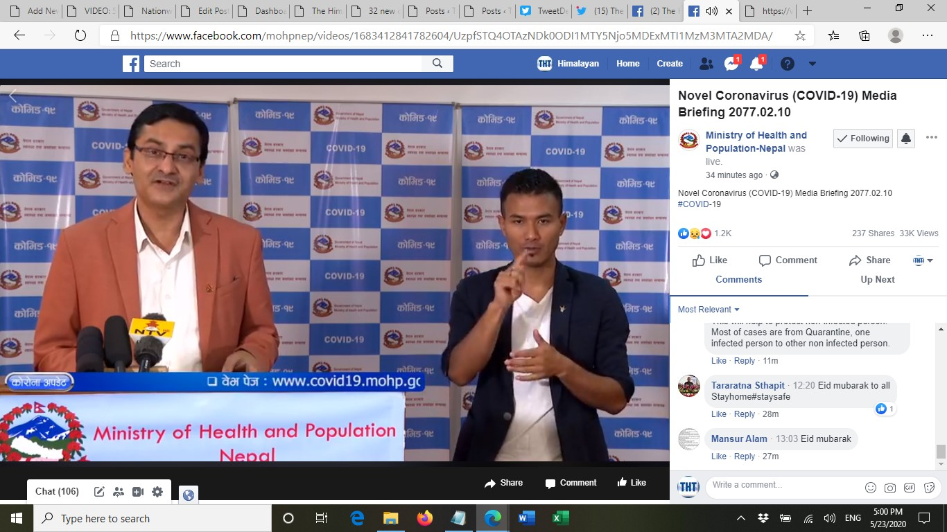 A screenshot of media briefing on COVID-19 response by the Ministry of Health and Population (MoHP), on Saturday, May 23, 2020.