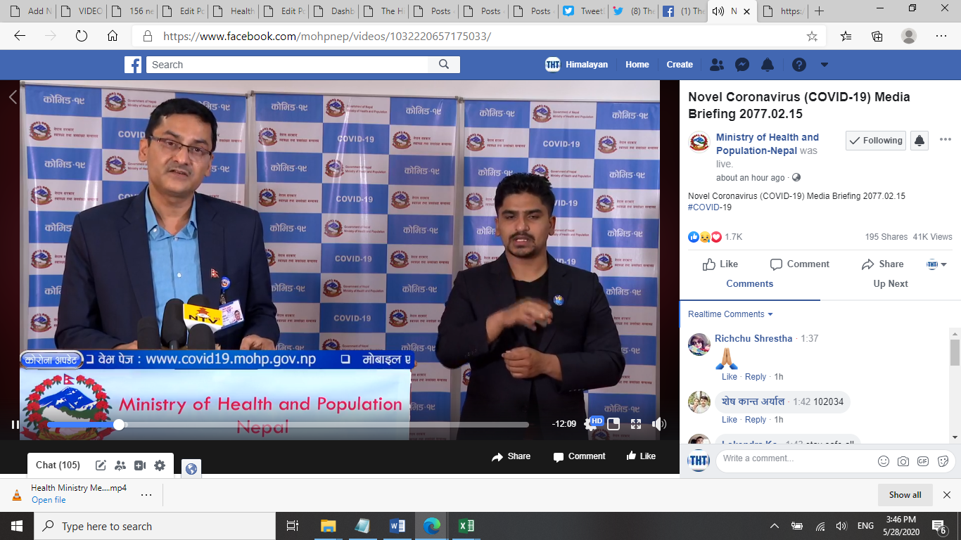 A screenshot of COVID-19 media briefing by the Ministry of Health and Population (MoHP), on Thursday, May 28, 2020.