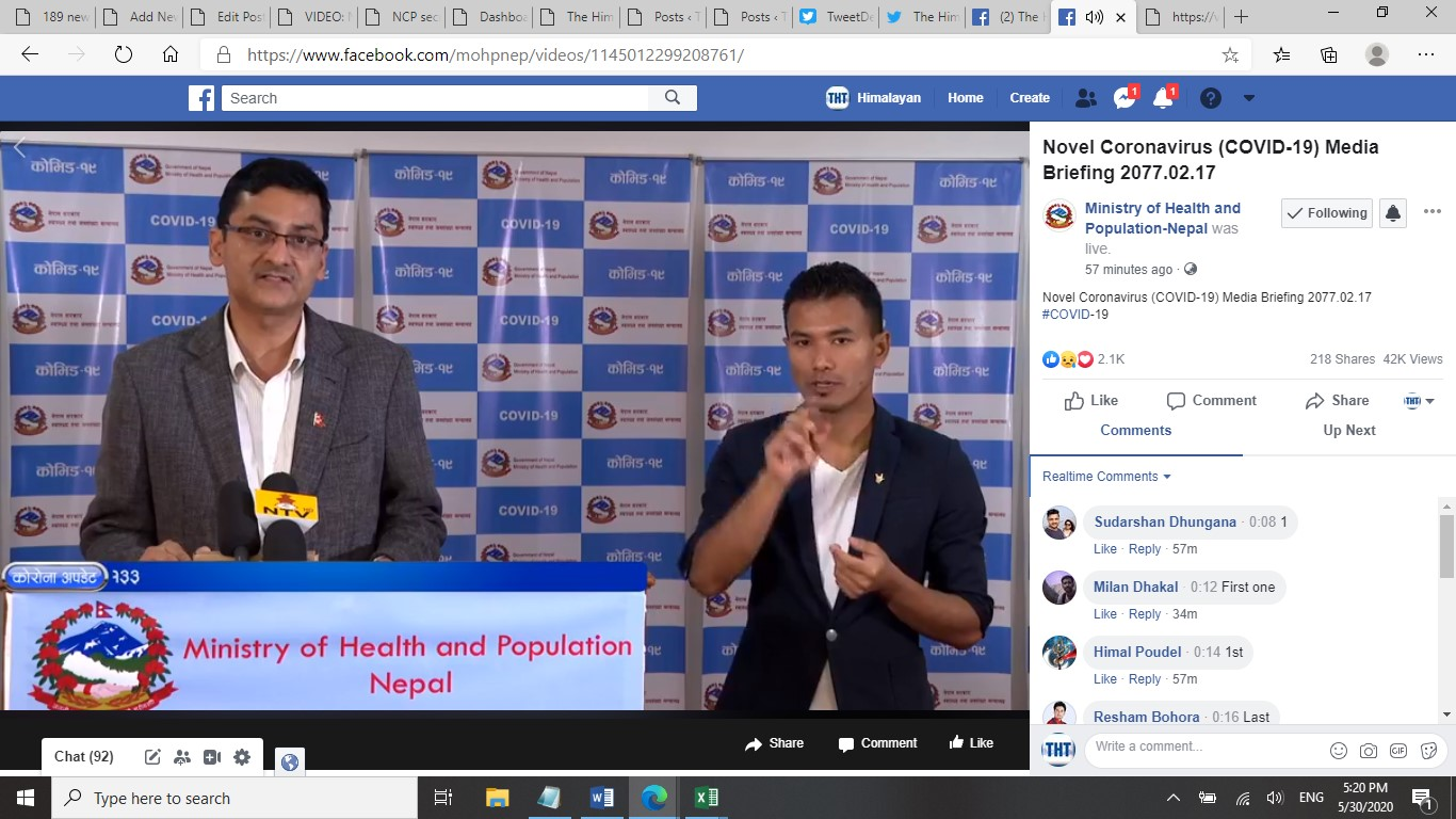 A screenshot of the COVID-19 media briefing by the Ministry of Health and Population (MoHP), on Saturday, May 30, 2020.