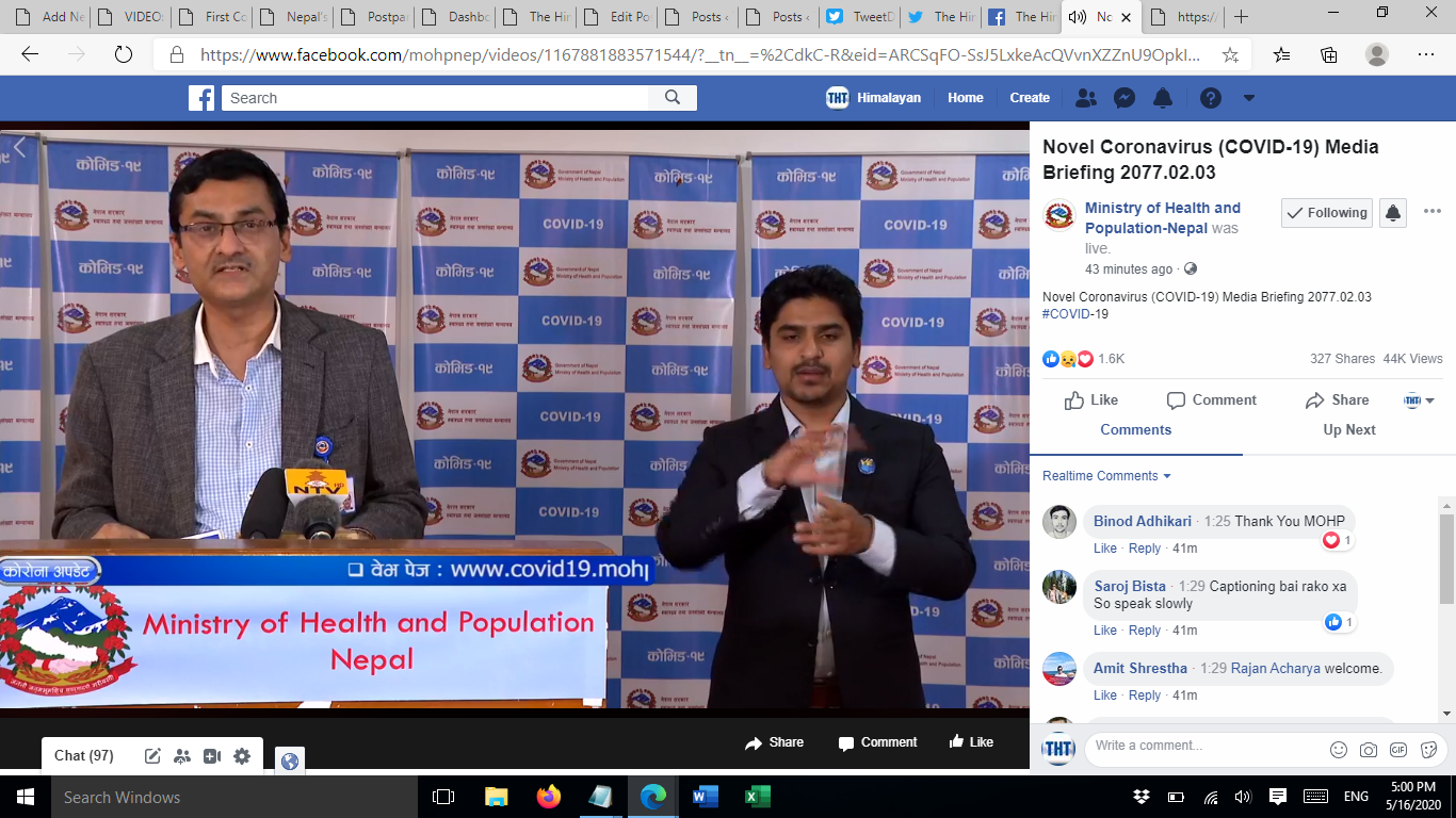 A screenshot of media briefing on COVID-19 response by the Ministry of Health and Population (MoHP), on Saturday, May 16, 2020.n