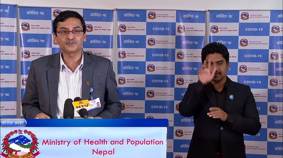 A screenshot of media briefing on COVID-19 response by the Ministry of Health and Population (MoHP), on Sunday, May 17, 2020.