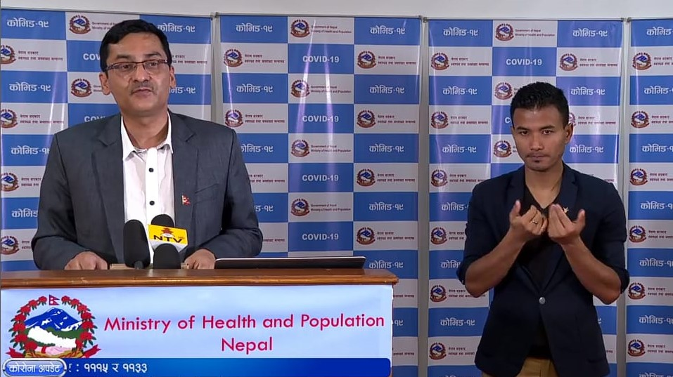 A screenshot from today's COVID-19 media briefing from the Ministry of Health and Population (MoHP).