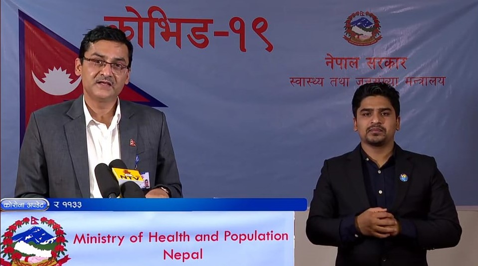 A screenshot of media briefing on COVID-19 by the Ministry of Health and Population (MoHP), on Sunday, May 3, 2020.