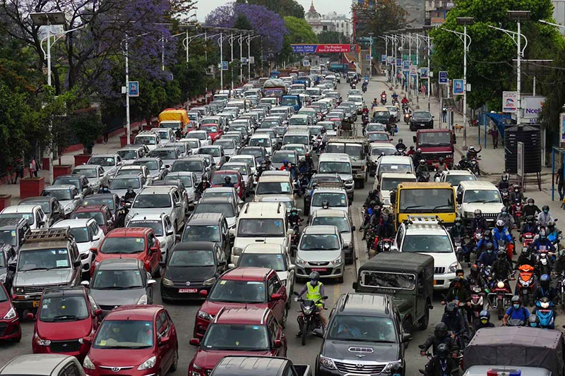 Vehicular movement surged in the valley as the government issued passes to vehicle owners to ensure certain types of economic activities, easing the lockdown, on Sunday, May 10, 2020.Photo: Naresh Shrestha / THT