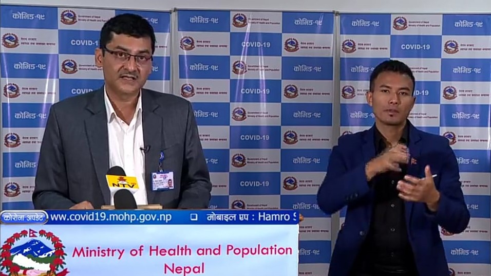 A screenshot of media briefing on COVID-19 response by the Ministry of Health and Population (MoHP), on Tuesday, May 26, 2020.