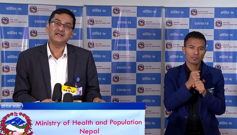 A screenshot of COVID-19 media briefing by the Ministry of Health and Population (MoHP), on Wednesday, May 27, 2020.