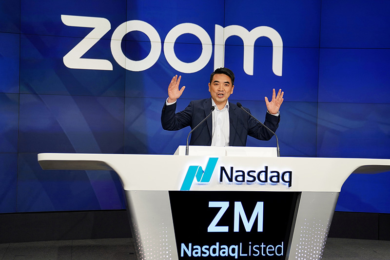 FILE -Eric Yuan, CEO of Zoom Video Communications takes part in a bell ringing ceremony at the NASDAQ MarketSite in New York, New York, US, on April 18, 2019. Photo: Reuters