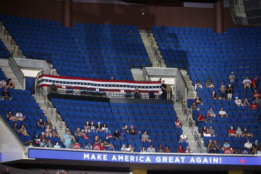 Empty seats are visible in the upper level at a campaign rally for President Donald Trump at BOK Center in downtown Tulsa, Okla., Saturday, June 20, 2020. Photo: Photo: AP